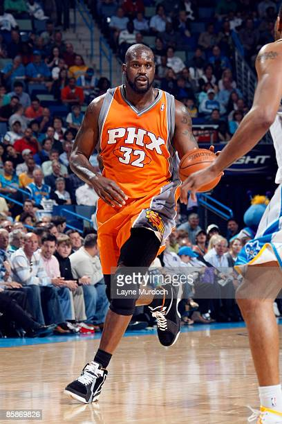 Shaquille O'Neal of the Phoenix Suns drives against the New Orleans Hornets on April 8 2009 at the New Orleans Arena in New Orleans Louisiana NOTE TO...