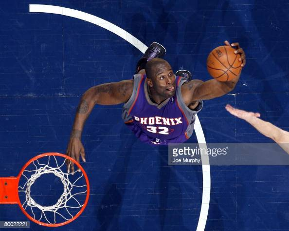 Shaquille O'Neal of the Phoenix Suns grabs a rebound in a game against the Memphis Grizzlies on February 26 2008 at the FedExForum in Memphis...