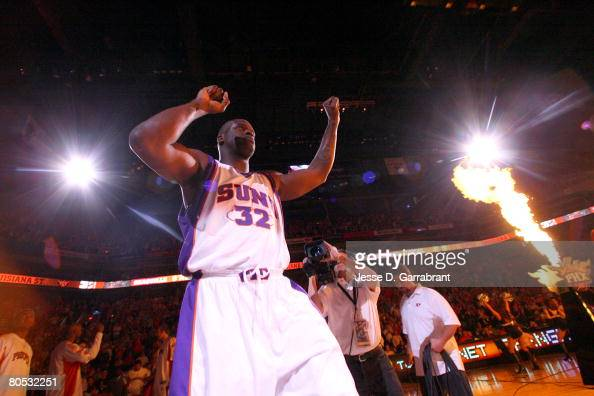 Shaquille O'Neal of the Phoenix Suns is introduced against the Minnesota Timberwolves before the game on April 4 2008 at the US Airways Center in...