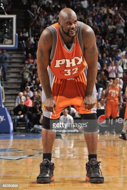 Shaquille O'Neal of the Phoenix Suns reacts during the game against the Orlando Magic on March 3 2009 at Amway Arena in Orlando Florida The Magic won...