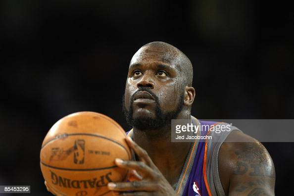 Shaquille O'Neal of the Phoenix Suns shoots a free throw against the Golden State Warriors during an NBA game on March 15 2009 at Oracle Arena in...