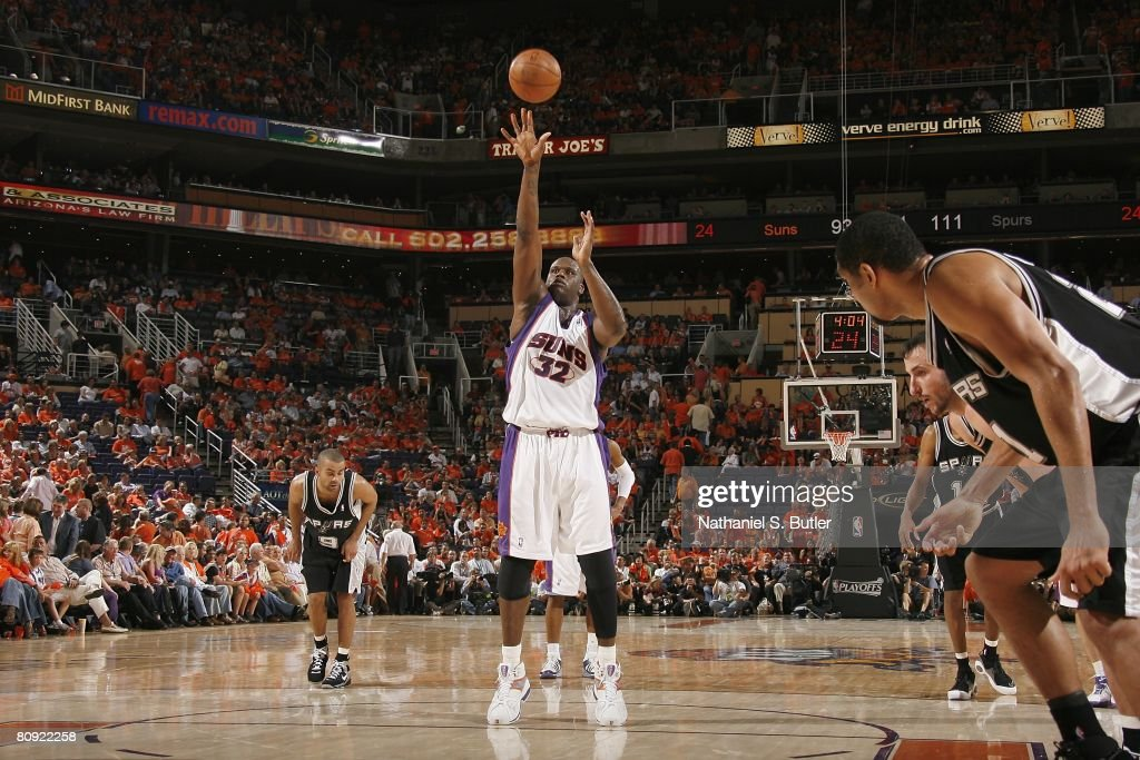 Shaquille O'Neal of the Phoenix Suns shoots a free throw in Game Three of the Western Conference Quarterfinals against the San Antonio Spurs during...