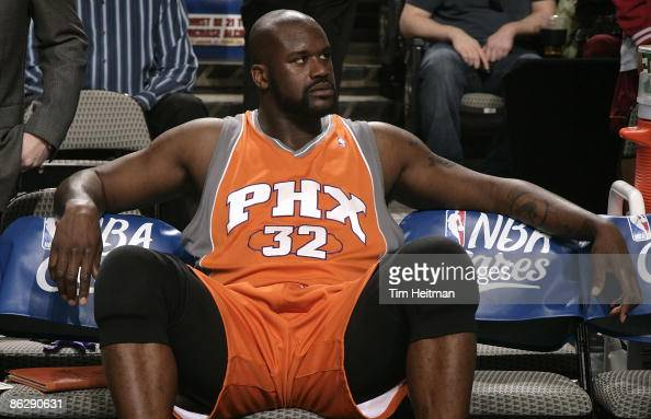 Shaquille O'Neal of the Phoenix Suns sits on the bench during the game against the Dallas Mavericks on April 5 2009 at the American Airlines Center...
