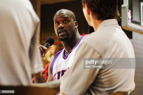 Shaquille O'Neal of the Phoenix Suns talks with the media during NBA Media Day on September 29 at US Airways Center in Phoenix Arizona NOTE TO USER...