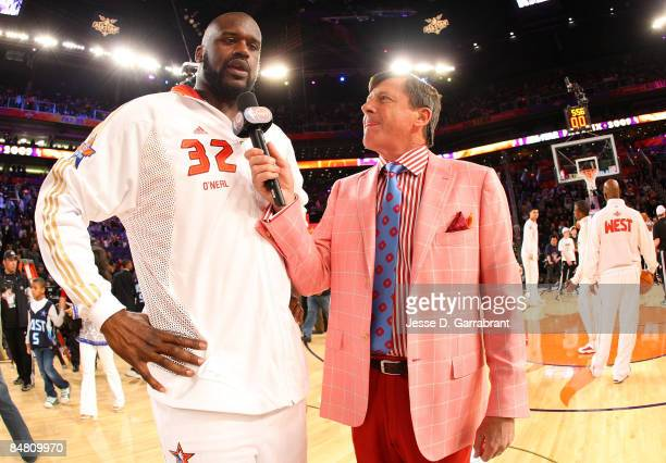 Shaquille O'Neal of the Western Conference is interviewed by TNT's Craig Sager of the Eastern Conference during the 58th NBA AllStar Game part of...