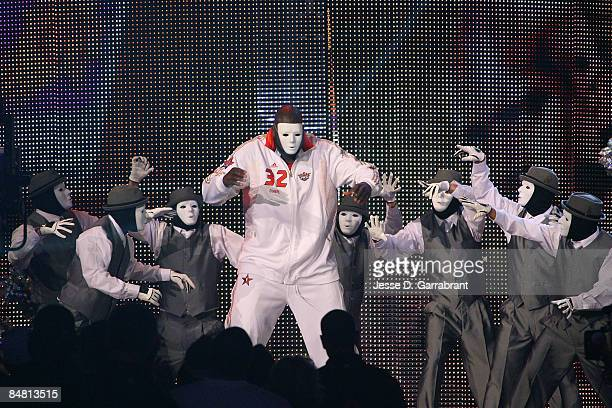 Shaquille O'Neal of the Western Conference performs with the Jabba Wockeez during the 58th NBA AllStar Game part of 2009 NBA AllStar Weekend at US...