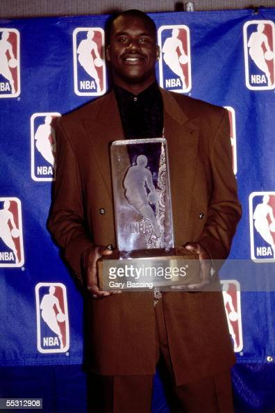 Shaquille O'Neal poses for a portrait after receiving the 1993 NBA Rookie of the Year award NOTE TO USER User expressly acknowledges and agrees that...