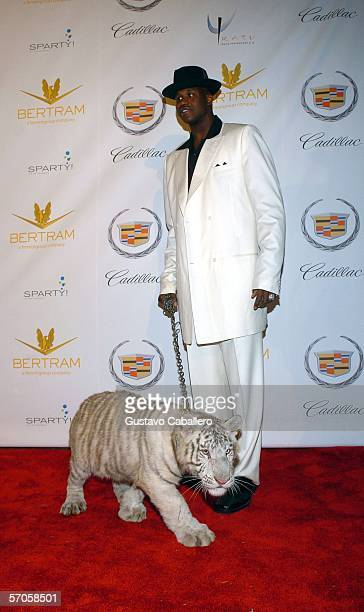 Shaquille O'Neal poses on the red carpet with a baby tiger at Shaquille O'Neal's 34th 'Scarface' themed birthday party on March 10 2006 in Miami...
