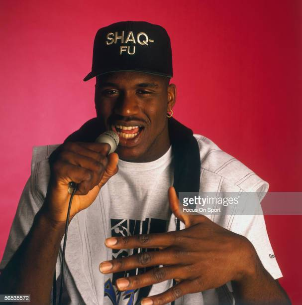 Shaquille O'Neal raps in a studio