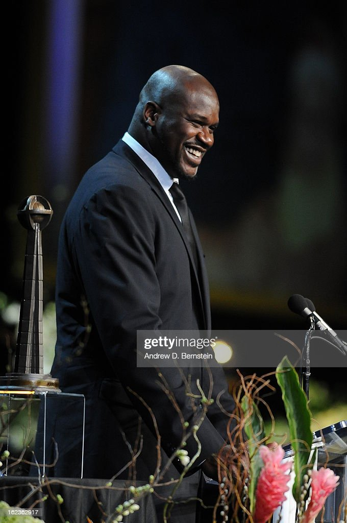 Shaquille O'Neal speaks during the memorial service for Los Angeles Lakers Owner Dr. Jerry Buss at Nokia Theatre LA LIVE on February 21, 2013 in Los Angeles, California.