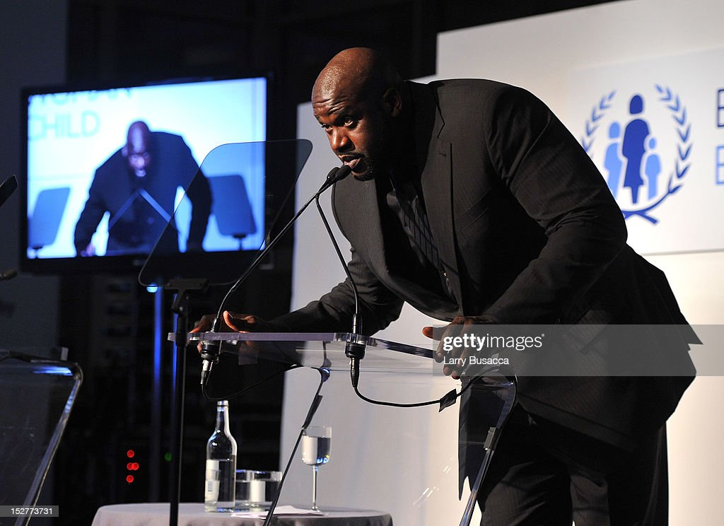 <a gi-track='captionPersonalityLinkClicked' href=/galleries/search?phrase=Shaquille+O%27Neal&family=editorial&specificpeople=201463 ng-click='$event.stopPropagation()'>Shaquille O'Neal</a> speaks onstage at the United Nations Every Woman Every Child Dinner 2012 on September 25, 2012 in New York, United States.