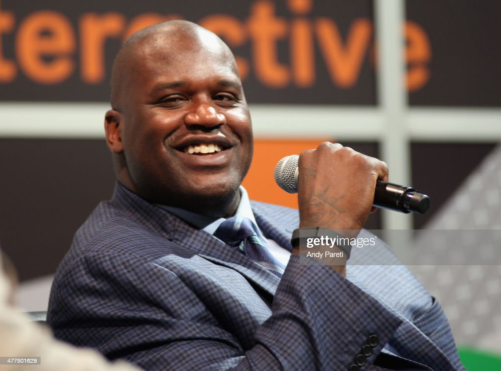 Shaquille O'Neal speaks onstage at 'Wearables Beyond with Shaq' during the 2014 SXSW Music Film Interactive Festival at Austin Convention Center on...