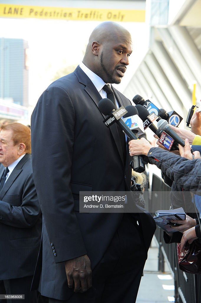 <a gi-track='captionPersonalityLinkClicked' href=/galleries/search?phrase=Shaquille+O%27Neal&family=editorial&specificpeople=201463 ng-click='$event.stopPropagation()'>Shaquille O'Neal</a> speaks with the media before the memorial service for Los Angeles Lakers Owner Dr. Jerry Buss at Nokia Theatre LA LIVE on February 21, 2013 in Los Angeles, California.