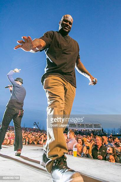 Shaquille O'Neal talks to the crowd during the 2015 March Madness Music Festival Day 3 on April 5 2015 in Indianapolis Indiana
