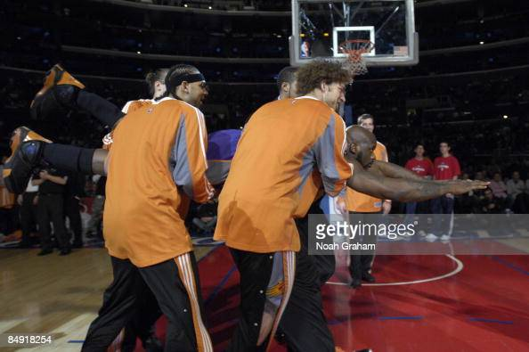 Shaquille O'Neal the Phoenix Suns is introduced in the starting lineups against the Los Angeles Clippers at Staples Center on February 18 2009 in Los...