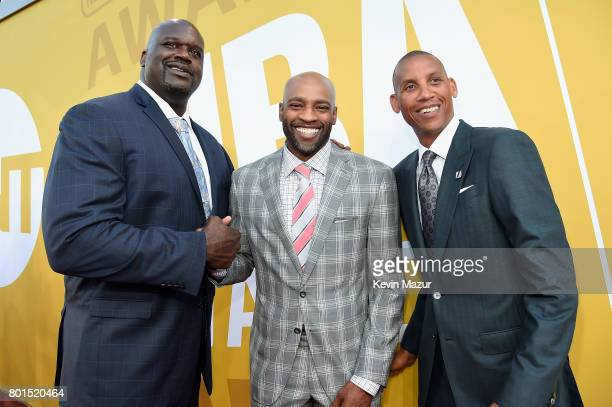 Shaquille O'Neal Vince Carter and Reggie Miller attend the 2017 NBA Awards Live on TNT on June 26 2017 in New York New York 27111_002