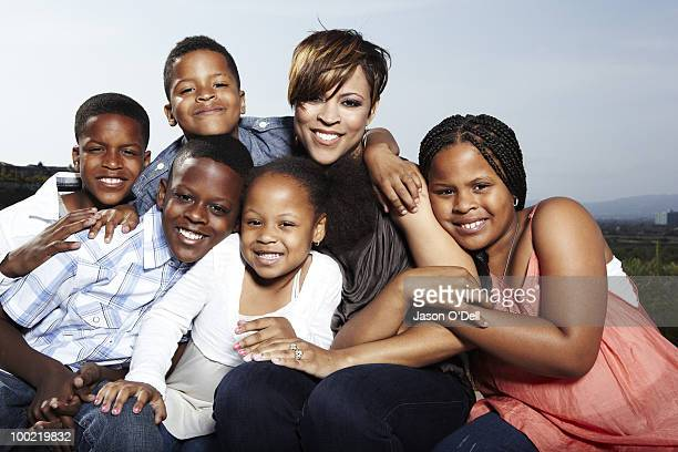 Shaquille O'Neal's ex wife Shaunie O'Neal poses at a portrait session with her kids Shareef Amirah Shaqir Me'arah Nelson and Myles for People in Los...
