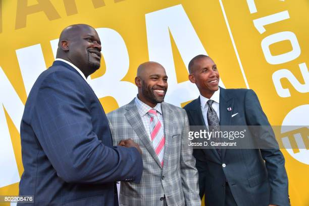 Shaquille O'NealVince CarterReggie Miller arrives on the red carpet during the 2017 NBA Awards Show on June 26 2017 at Basketball City in New York...