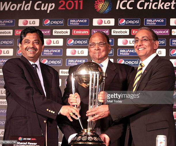 Sharad Pawar ICC Vice President along with Ratnakar Shetty ICC Tournament Director and Haroon Lorgat ICC Chief Executice unveil the ICC Cricket World...