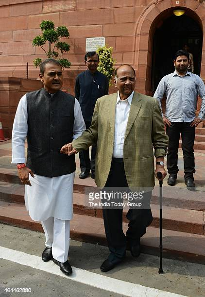 Sharad Pawar with Praful Patel on the first day of budget session in New Delhi
