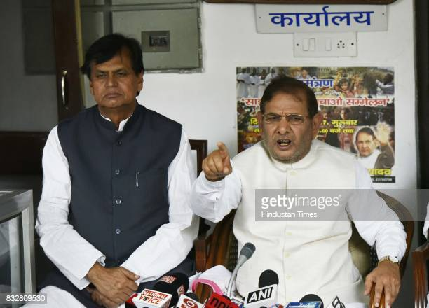 Sharad Yadav with Ali Anwar during a press conference at his residence on August 16 2017 in New Delhi India Veteran leader Sharad Yadav will stage a...