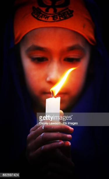 Sharan Kaur nine takes part in a prayer vigil at Pilrig Park in Edinburgh where a Sikh teenager's hair was hacked off during a racial attack last...