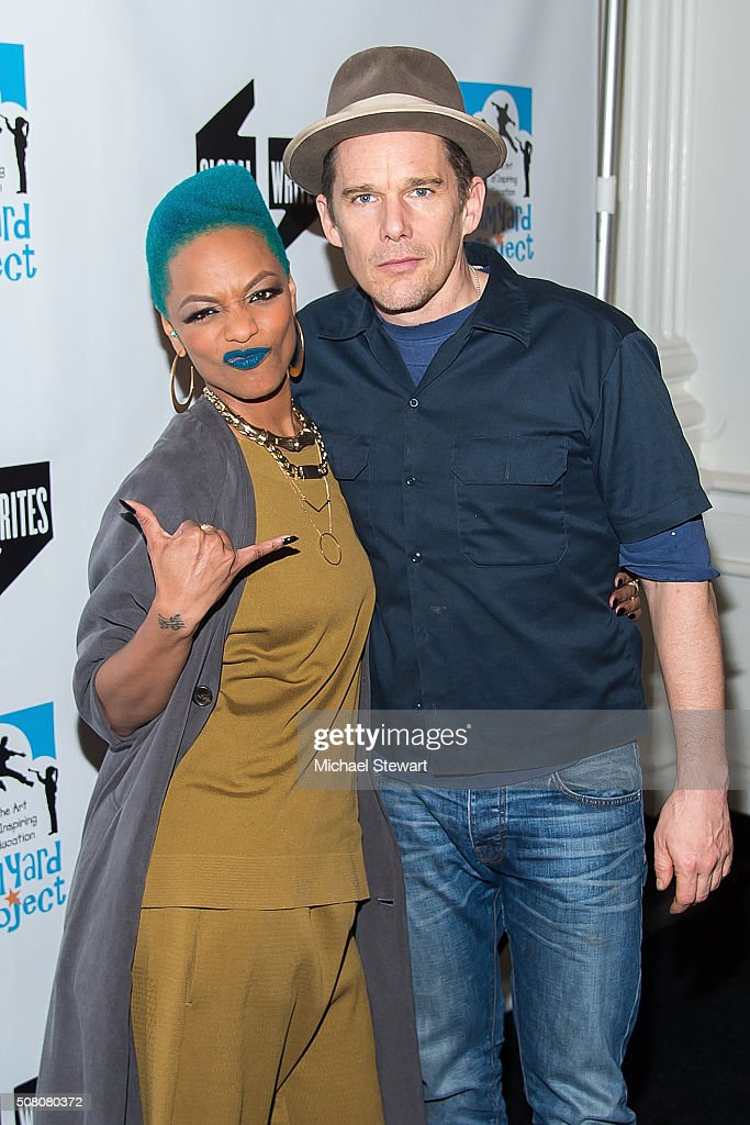 Sharaya J (L) and Ethan Hawke attend the Bronxwrites' Poetry Slam Finals at Joe's Pub on February 2, 2016 in New York City.