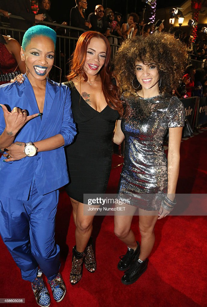 Sharaya J, Faith Evans and Kandace Springs attend 2014 Soul Train Music Awards on November 7, 2014 in Las Vegas, Nevada.