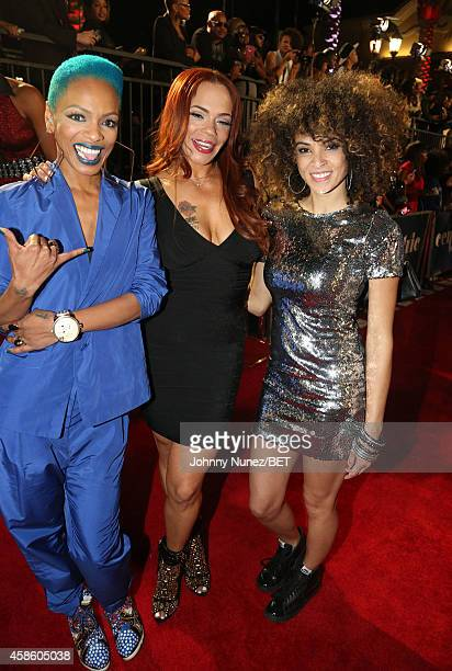 Sharaya J Faith Evans and Kandace Springs attend 2014 Soul Train Music Awards on November 7 2014 in Las Vegas Nevada