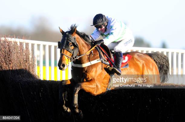 Shardakhan and Jamie Moore clear the last to win The intercasinocouk Novices' Handicap Chase at Kempton Park Racecourse