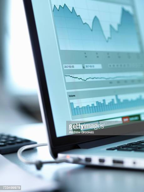 Share price data from investors portfolio on a laptop computer screen