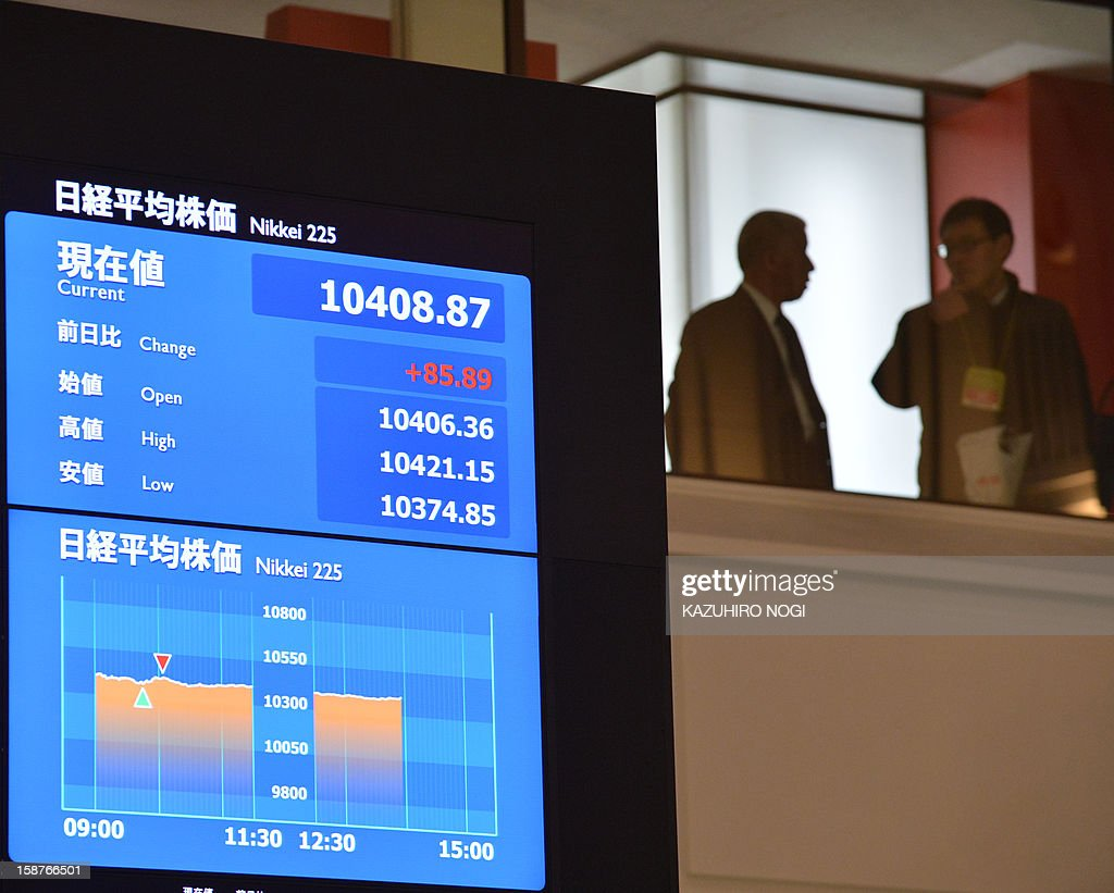 A share price index of the last trading day of 2012 is displayed at the Tokyo Stock Exchange in Tokyo on December 28, 2012. The Nikkei ended the last trading day of the year up 0.70 percent, or 72.20 points, closing at 10,395.18, its best finish since Japan's quake-tsunami disaster in 2011, and up 22.9 percent over the past year. AFP PHOTO / KAZUHIRO NOGI