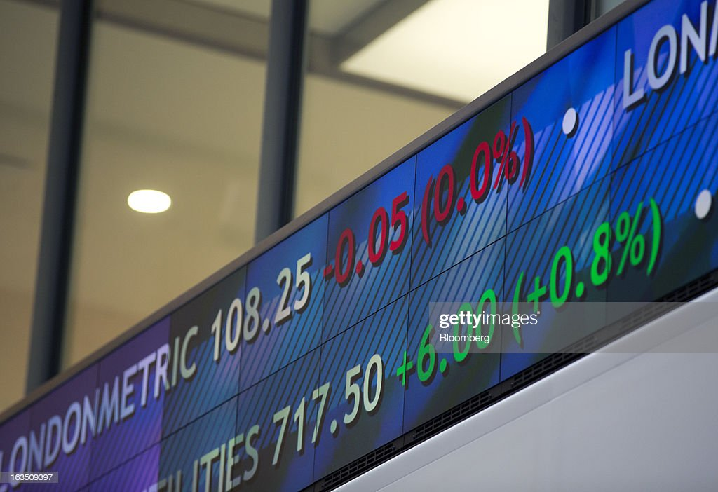 Share price information is displayed on an electronic board in the main atrium of the London Stock Exchange Group Plc's (LSE) headquarters in London, U.K., on Monday, March 11, 2013. European stocks fell from a 4 1/2-year high as Fitch Ratings downgraded Italy and China's retail sales and industrial output missed forecasts. Photographer: Jason Alden/Bloomberg via Getty Images