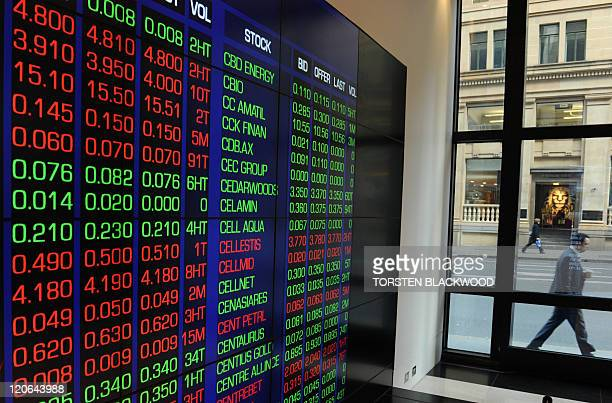 Share price monitors show stocks tumbling as a businessman walks past the Australian Stock Exchange in Sydney on August 8 2011 Australian stocks fell...