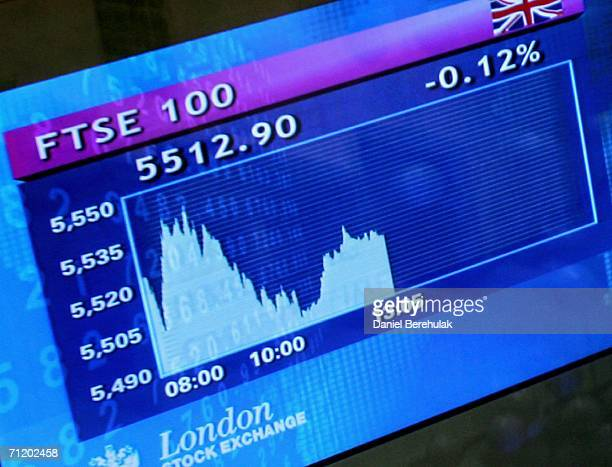 Share price screens show the FTSE 100 share price index displayed in The London Stock Exchange on June 14 2006 in London England The FTSE index has...