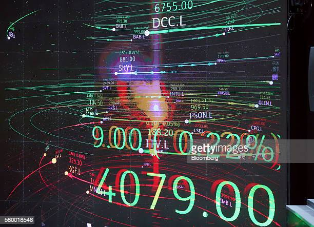 Share prices of FTSE 100 companies are displayed on a screen in the atrium of the London Stock Exchange Group Plc's offices in Paternoster Square in...