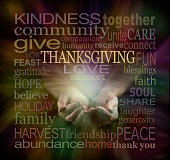 Male cupped hands surrounded by a muted color THANKSGIVING word cloud on a dark background with a light emerging from hands