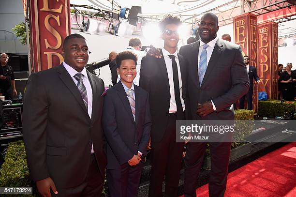Shareef O'Neal and former NBA player Shaquille O'Neal attend the 2016 ESPYS at Microsoft Theater on July 13 2016 in Los Angeles California