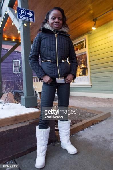 Shareeka Epps actress in Sundance film Milkshake from Brooklyn wearing faux cuir pants from American Apparel Michael Kors down jacket JCrew scarf and...
