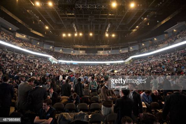 Shareholders and guests mingle prior to the start of the Berkshire Hathaway shareholders meeting in Omaha Nebraska US on Saturday May 3 2014...