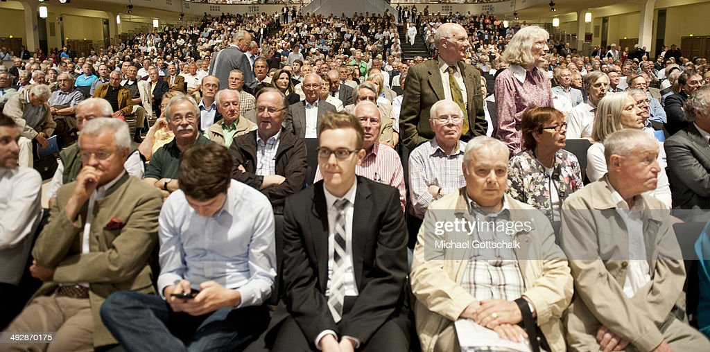 Shareholders attend the annual general meeting of Deutsche Bank on May 22 2014 in Frankfurt Germany