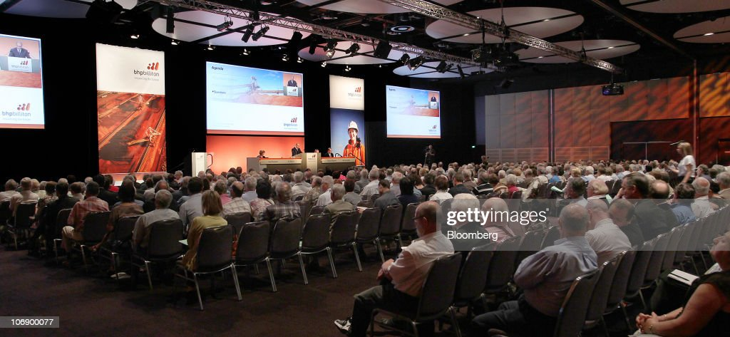 Shareholders attend the BHP Billiton Ltd annual general meeting in Perth Australia on Tuesday Nov 16 2010 BHP Billiton Ltd Chief Executive Officer...