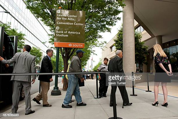 Shareholders enter Duke Energy's headquarters during the annual shareholder meeting on May 1 2014 in Charlotte North Carolina Activists have been...