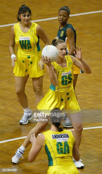 Sharelle McMahon of Australia in action during the 1st game of the International Netball series between Australia and South Africa at Challenge...