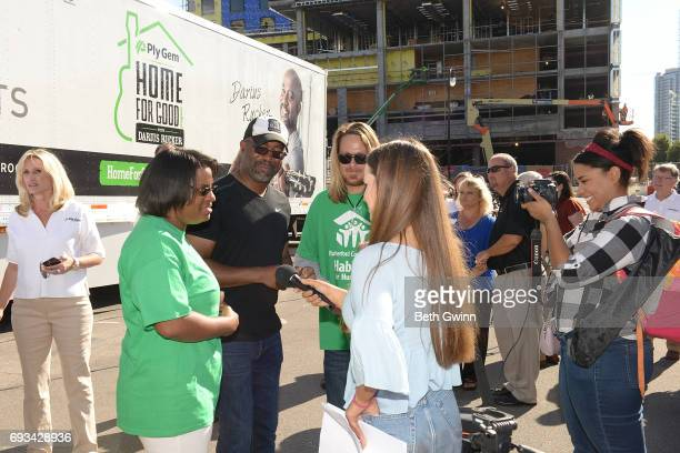 Shari Hinton Darius Rucker and Charles Russell talk to press at Ply Gem's Home for Good press conference with Habitat for Humanity on June 7 2017 in...