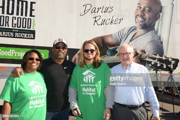 Shari Hinton Darius Rucker Charles Russell and Chairman and CEO of Ply Gem Gary E Robinette at the Ply Gem's Home for Good press conference with...