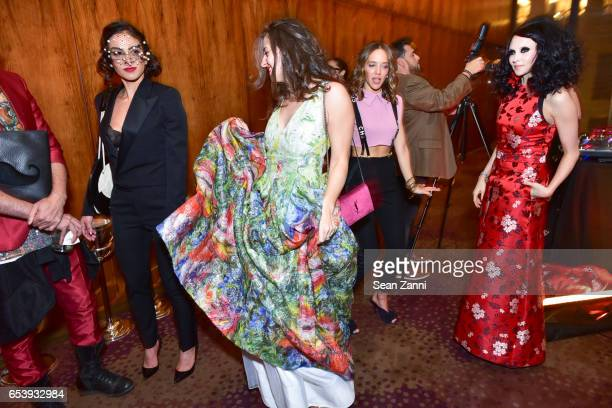 Shari Loeffler Guest Zoe Buckman and Stacey Bendet Eisner attend Art Production Fund's Bright Lights Big City Gala at Seagram Building on March 13...