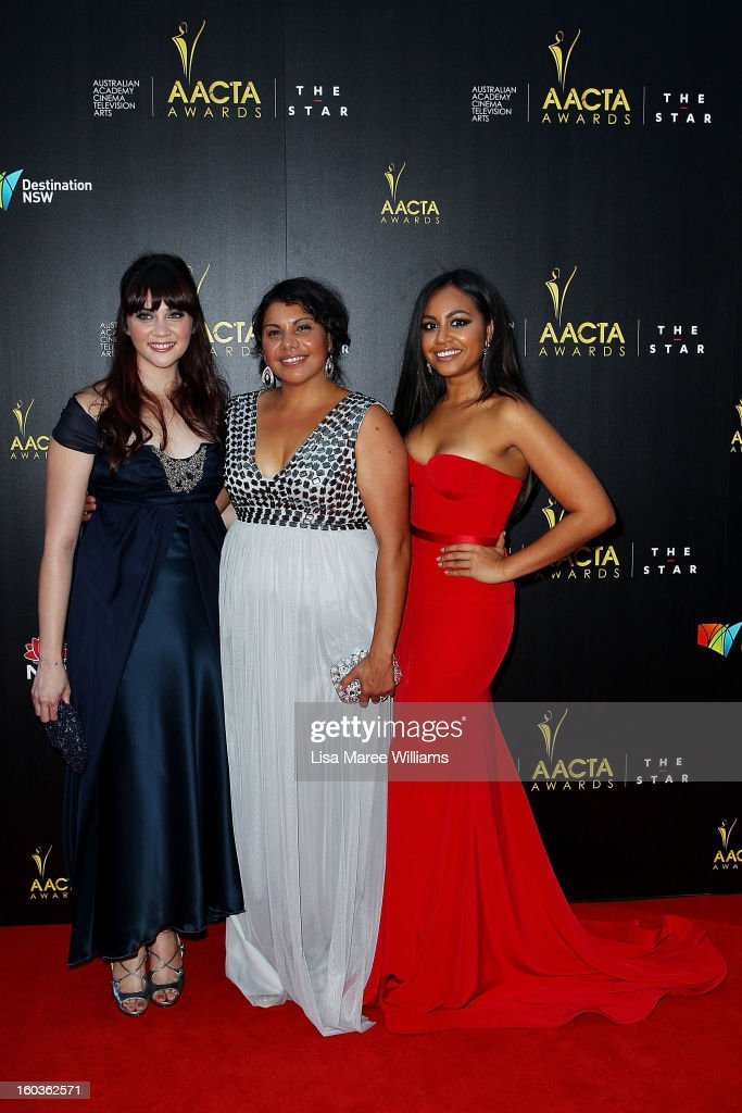 Shari Sebbens, Deborah Mailman and Jessica Mauboy arrives at the 2nd Annual AACTA Awards at The Star on January 30, 2013 in Sydney, Australia.