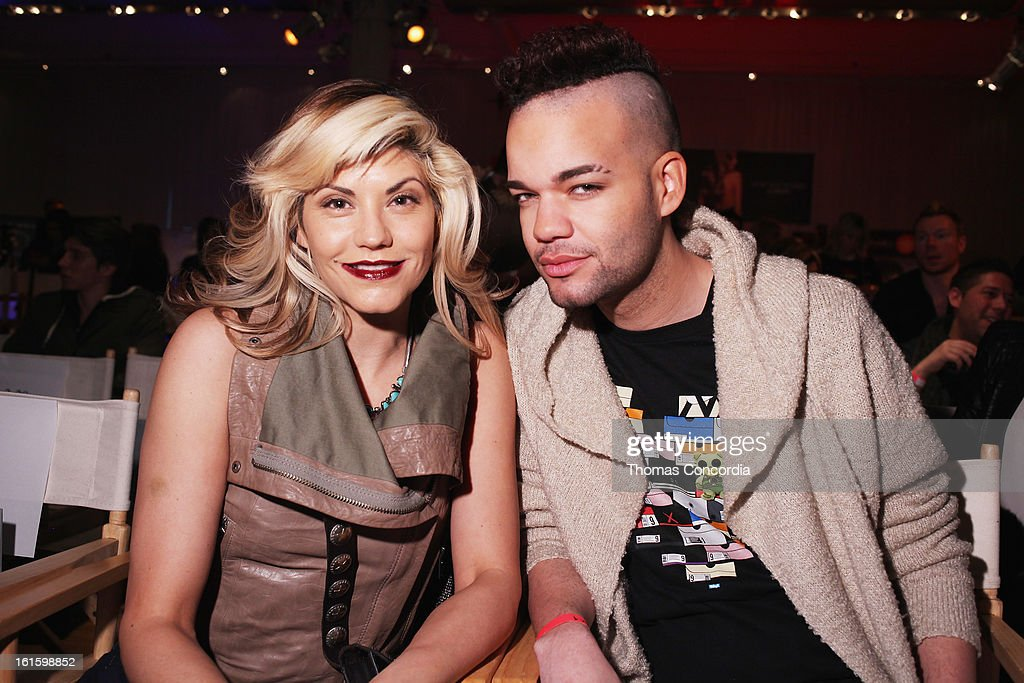 Sharie Manon (L) and designer Jason Christopher Peters attends the Tumbler And Tipsy By Michael Kuluva Fashion Show At CONAIR STYLE360 at STYLE360 presented by Conair Fashion Pavilion on February 12, 2013 in New York City.