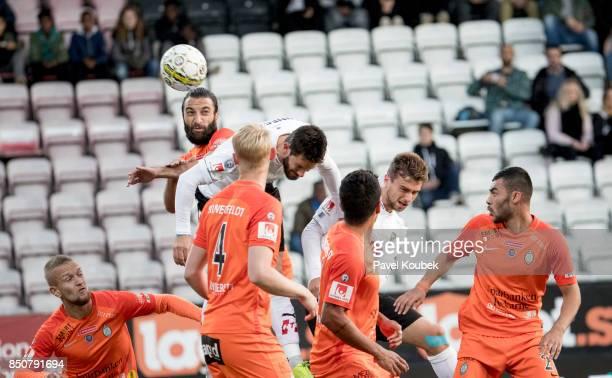 Sharif Muhammad of Athletic FC Eskilstuna Brendan HinesIke of Orebro SK Filip Rogic of Orebro SK during the Allsvenskan match between Orebro SK...